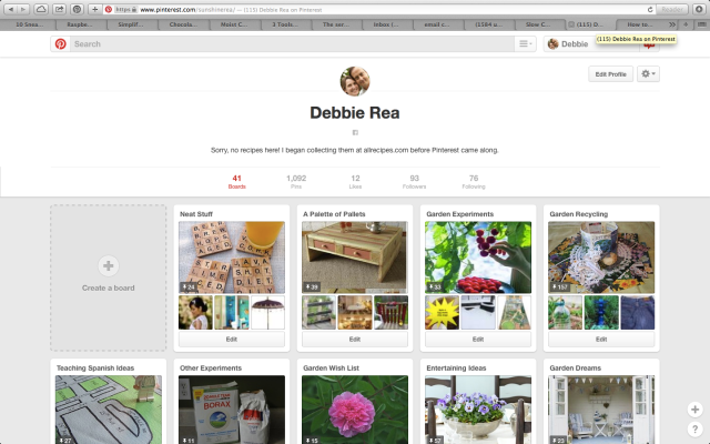 Screenshot of my current Pinterest page - 2/12/15