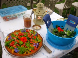 Dinner is served--taco pie with Mexican tomatillo salsa and a garden salad