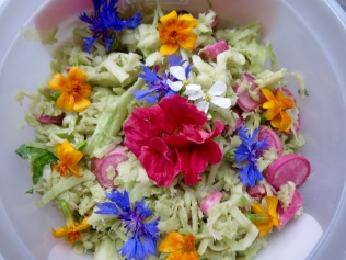 Here's the broccoli slaw with edible flowers added. 7/15/16